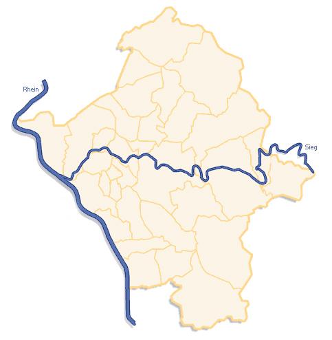 Kartenskizze der Gemeinden An Sieg und Rhein