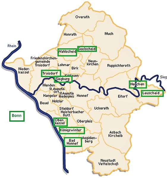 Karte des Kirchenkreises An Sieg und Rhein, markiert sind die Gemeinden mit BK-Pfarrern